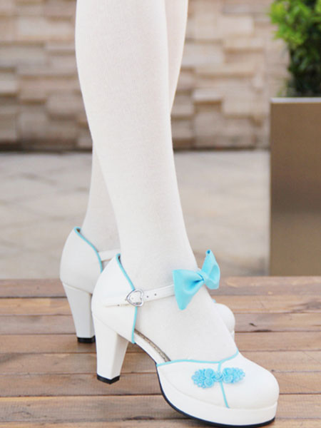 White Qi Lolita Chunky Heels Shoes Red Blue Pink Black