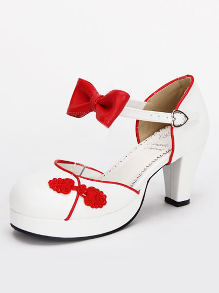 Blanco Qi Lolita gruesos tacones zapatos estilo chino rojo/azul/rosa/negro botones arcos ct7aDq