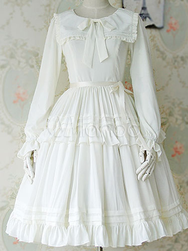 Milanoo Lolita Dress Bow Ruffled Classical Lolita Dresses