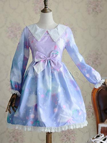 Sweet Lolita Dress Lace Printed Lolita Dresses Big Bow