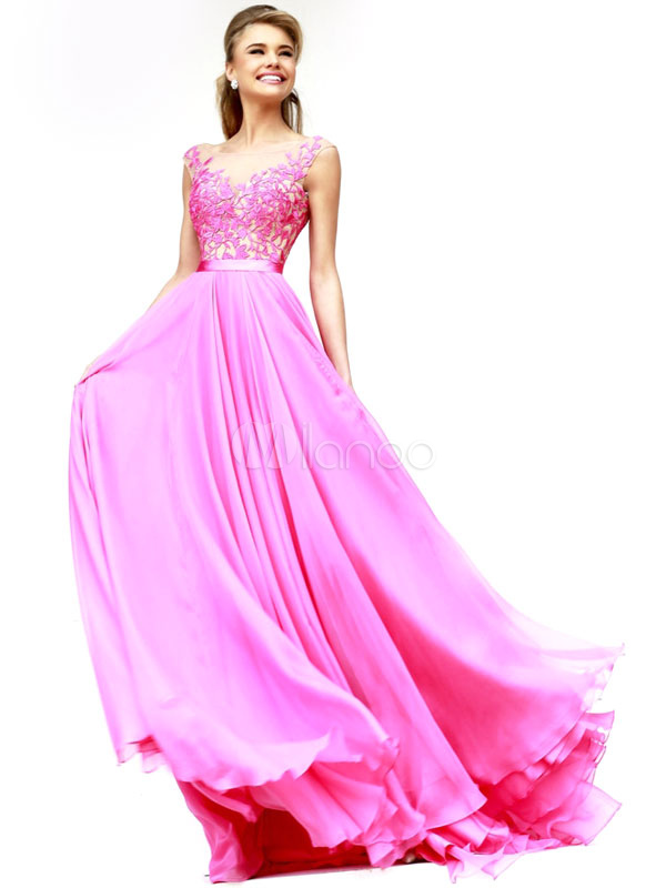 Chiffon Lace Evening Party Dress In Pink Low Back March 2018. New collection, free shipping.