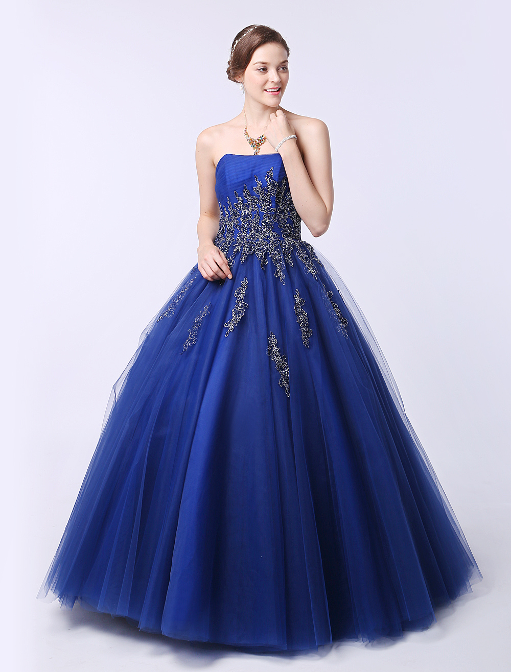 Buy Blue Wedding Dress Lace Applique Beading Sweetheart Strapless Ball Gown Princess Bridal Gown Floor-Length Pageant Dress for $252.89 in Milanoo store