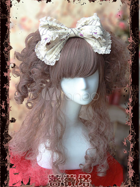 Buy Sweet Cotton Lolita Headbow Lace Trim Flower Print for $18.39 in Milanoo store