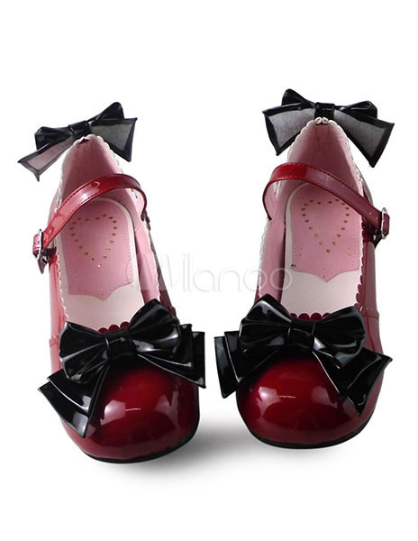 Glossy Lolita Square Heels Shoes with Sweet Bows
