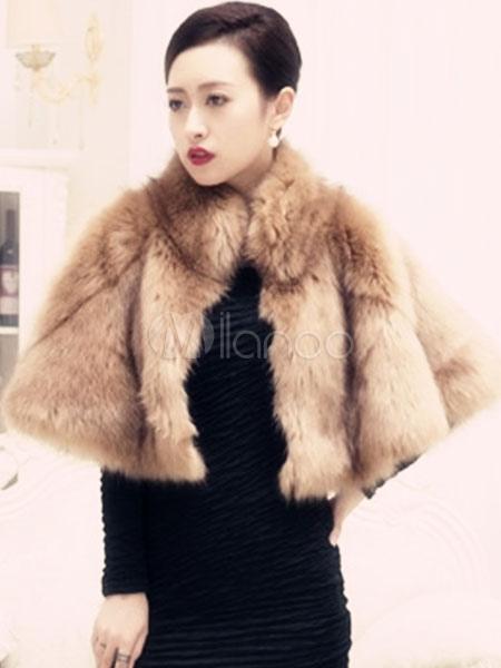 Apricot Shawl Faux Fur Acrylic Shawl for Women Cheap clothes, free shipping worldwide