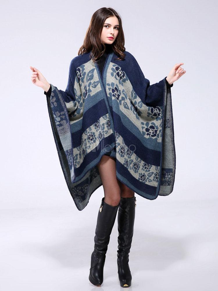 b8e4ef83f127 La Femme Manteau Poncho Bleue De Jacquard Couverture Pull Zx1q7wvA