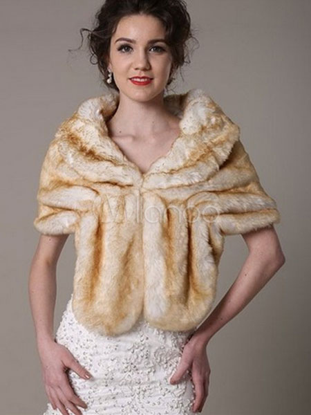 Buy Champagne Shawl Faux Fur Acrylic Shawl for Women for $15.00 in Milanoo store