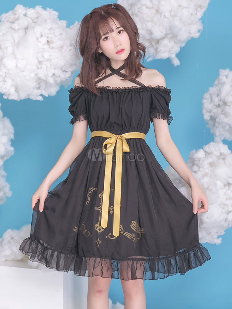 Buy Gothic Lolita Dress Chiffon Bow Cross Printed Puff Sleeves Milanoo Gothic Lolita Dresses With Short Flat Shoulder for $71.09 in Milanoo store
