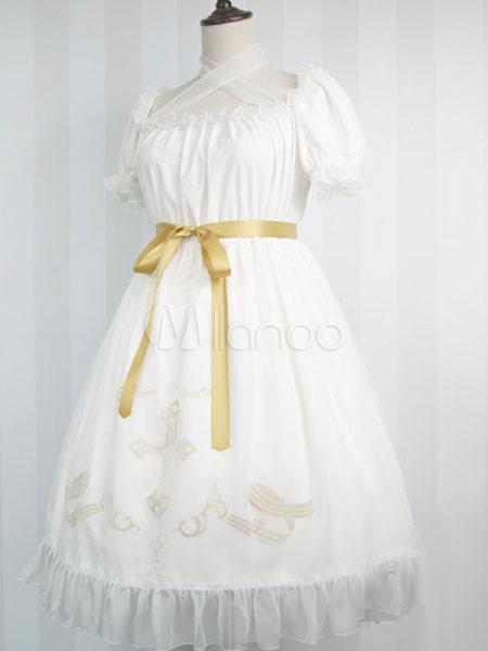 Gothic Lolita Dress Chiffon Bow Cross Printed Puff Sleeves Milanoo Gothic Lolita Dresses With Short