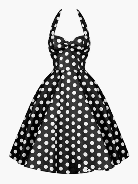 Vintage Black Dress 1950s Pin Up Dress Polka Dot Halter Women Swing Dress