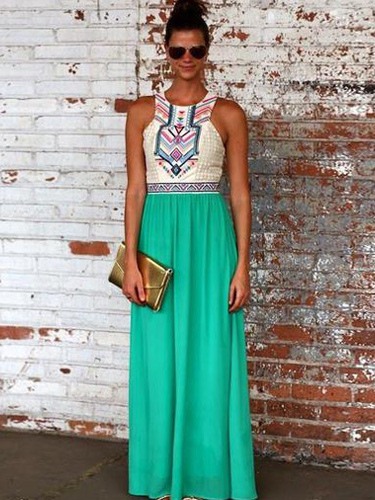 Boho Maxi Dress 2018 Chiffon Summer Dress Sleeveless Long Dress