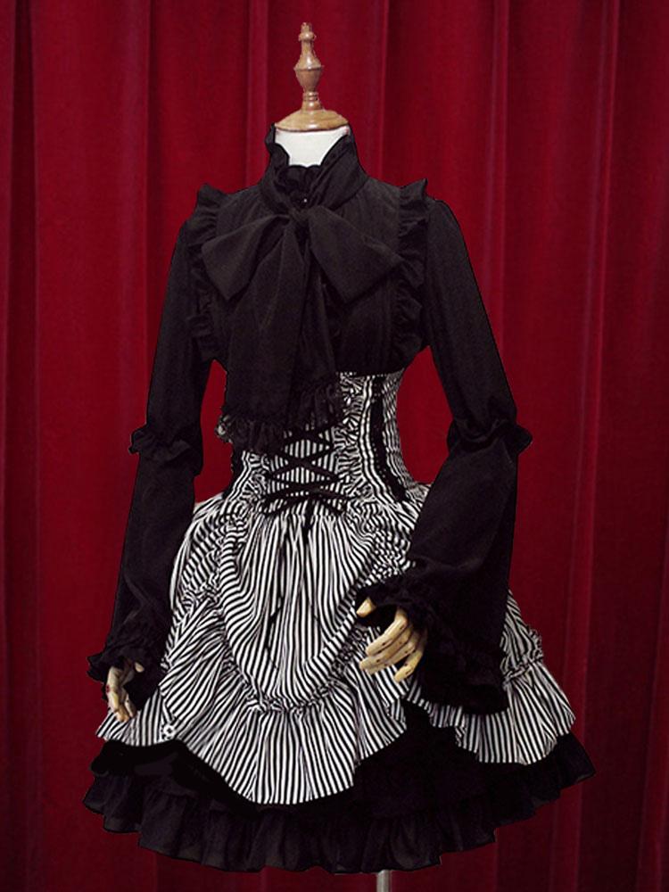9576cae4d1be23 Classique taille haute Jupe Lolita noire élégante luxueuse excellente en  coton avec rayure et noeuds