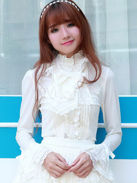 Buy Beige Lolita Blouse Long Hime Sleeves High Collar Lace Up Lace Trim Ruffles for $45.99 in Milanoo store
