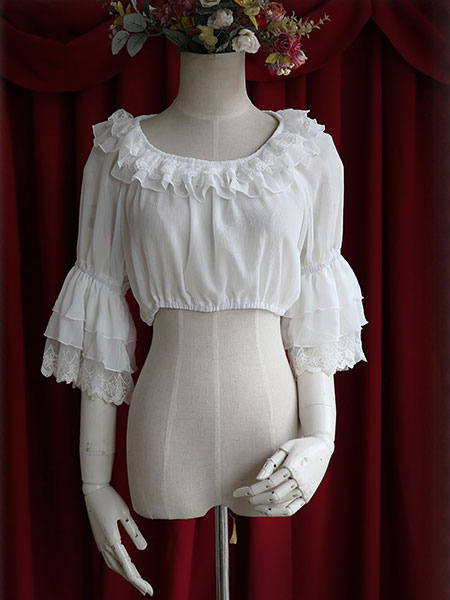 Buy White Chiffon Lolita Blouse Middle Hime Sleeves Lace Trim High Waist for $31.99 in Milanoo store