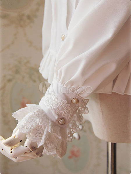 c6d5a0e68aece ... White Lolita Blouse Fragrant Series Infanta Chic Chiffon Shirt For Women-No.7  ...