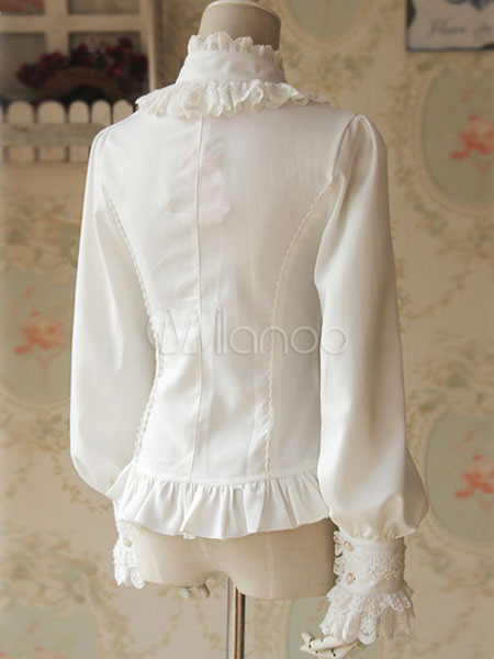 c14296912e206 ... White Lolita Blouse Fragrant Series Infanta Chic Chiffon Shirt For Women-No.6  ...
