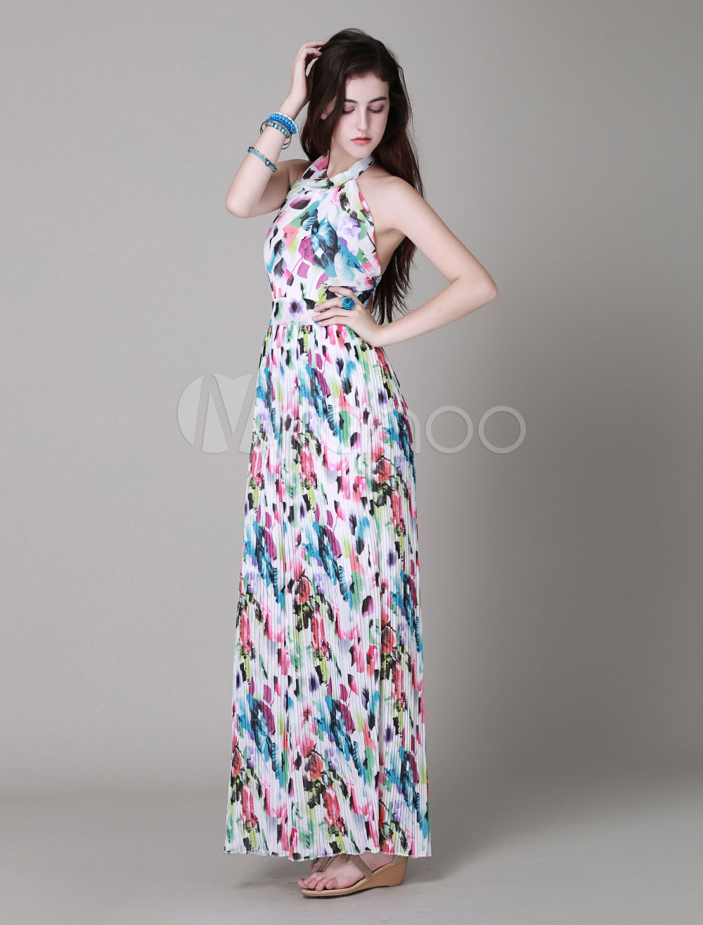 2051576e90f Hot Sale Maxi Dress With Floral Print Backless Long Beach Dresses For Women -No.