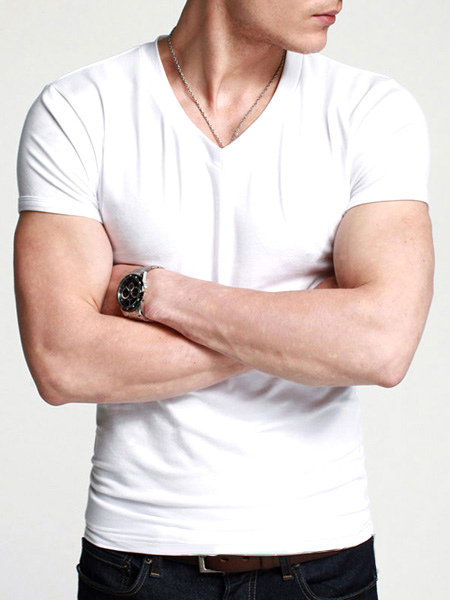 Short Sleeve T Shirt Cotton V Neck Base Top Solid Color Undershirt For Men