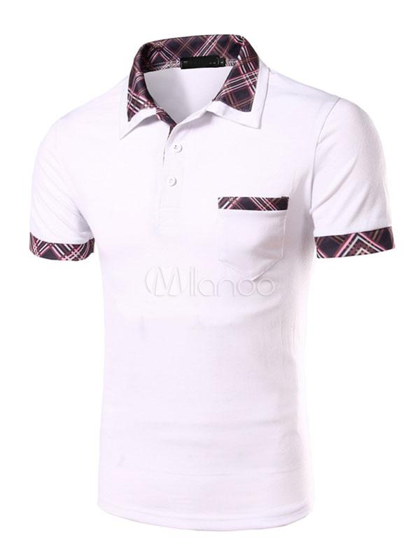 White Print Cotton Polo Shirt for Men