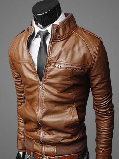 Men Leather Jacket Brown Spring Jacket Stand Collar Long Sleeve Short Jacket