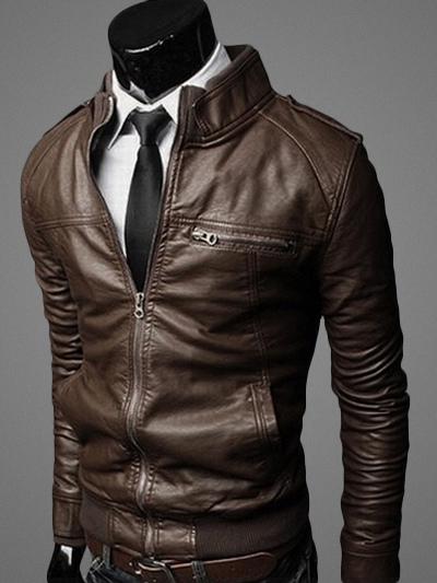 giacca pelle uomo senza collo