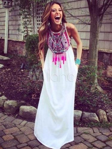 Multicolor Print Maxi Dress for Women