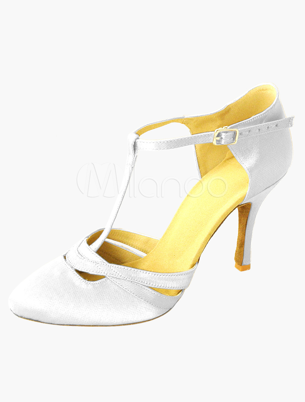 Satin Dance Shoes Round Toe T Type  Professional Latin Dancing Shoes Ballroom Shoes