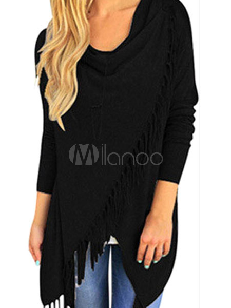 Long Sleeve T-shirt Women's Gray Shawl Colllar Casual Top With Fringe Cheap clothes, free shipping worldwide