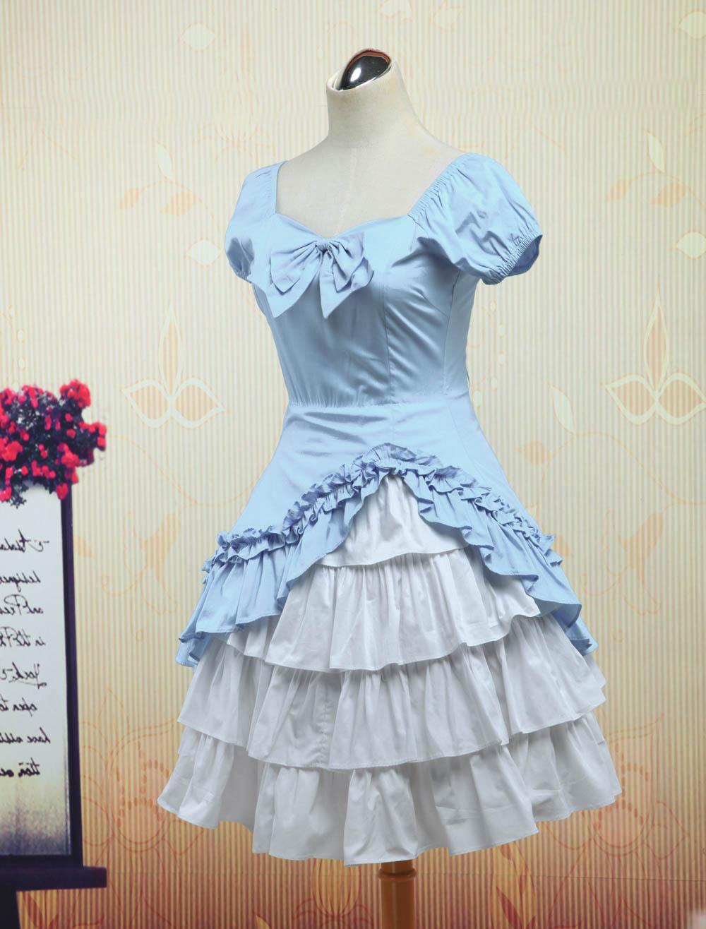 Wine White Lolita OP Dress Short Sleeves withe Ruffles - Milanoo.com