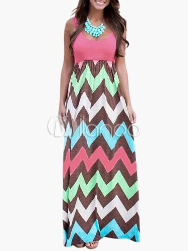 Zigzag Print Cotton Blend Maxi Dress