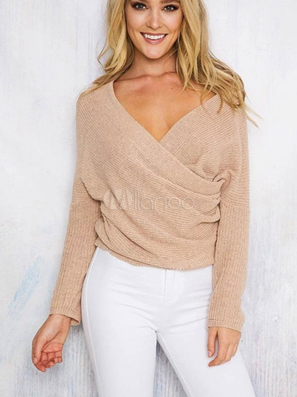 Women's Apricot Sweater Long Sleeve V-neck Cross Front Draped Pullover
