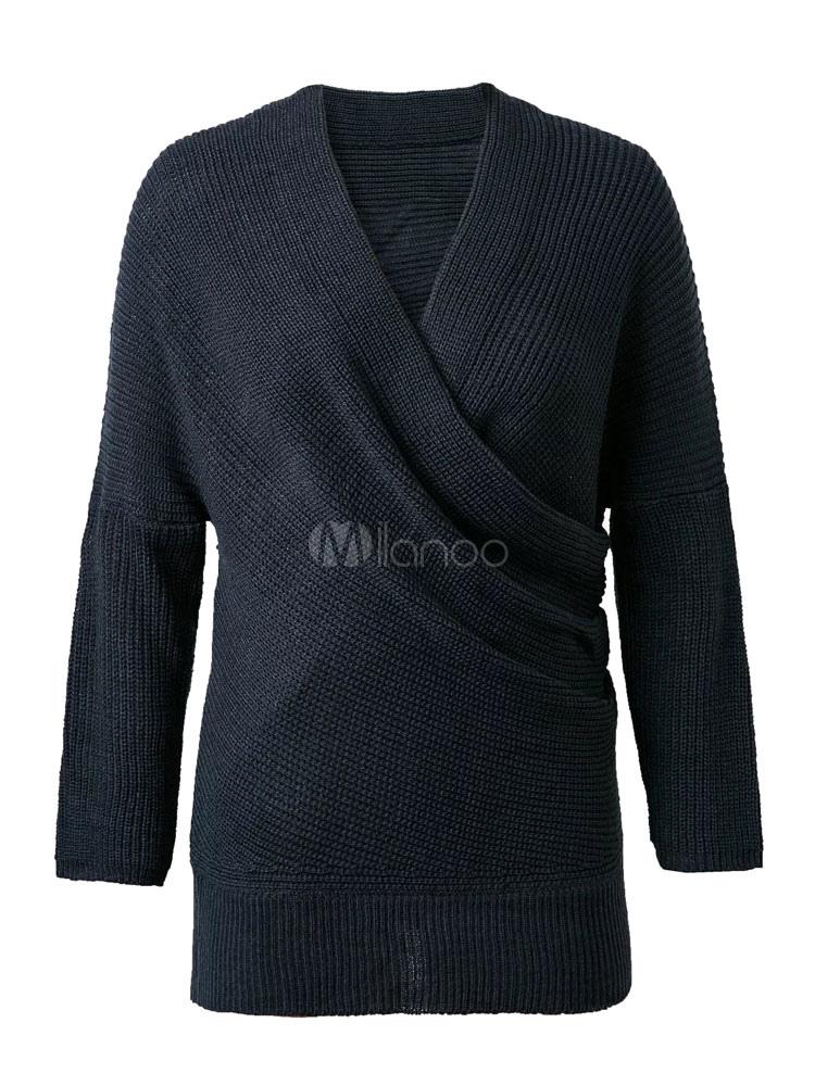 Women S Apricot Sweater Long Sleeve V Neck Cross Front