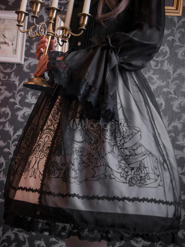 gothic lolita kleidung schwarz chiffon lolita berrock mit. Black Bedroom Furniture Sets. Home Design Ideas
