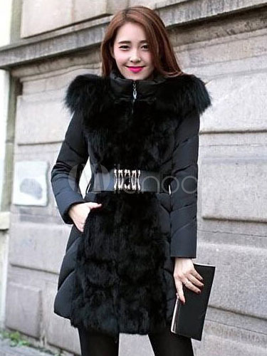 Hooded Winter Coat Women's Slim Fit Faux Fur Quilted Coat With Belt Cheap clothes, free shipping worldwide