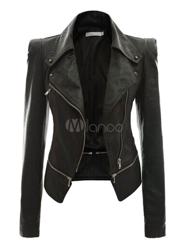 Women Leather Jacket Black Motorcycle Jacket Long Sleeve Zipper ...