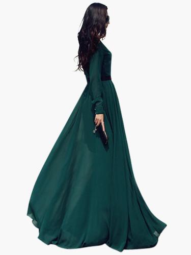 Maxi Dress Women 2018 Green Chiffon Long Sleeve Shirt Dress