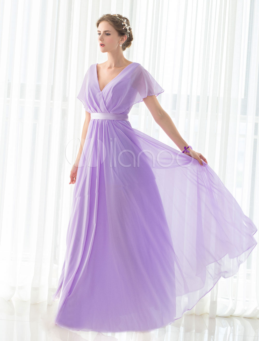 Bridesmaid Dress Lilac Chiffon Maxi V-neck Short Sleeves Satin Sash Floor-length Lace-up Wedding Party Dress