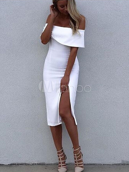 White Bodycon Dress Split Off-The-Shoulder Rayon Party Dress Cheap clothes, free shipping worldwide