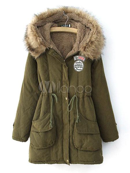 Women Parka Jacket Faux Fur Collar Pockets Drawstring Hooded Green Overcoat