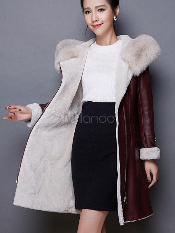 Manteau simili cuir femme col fourrure