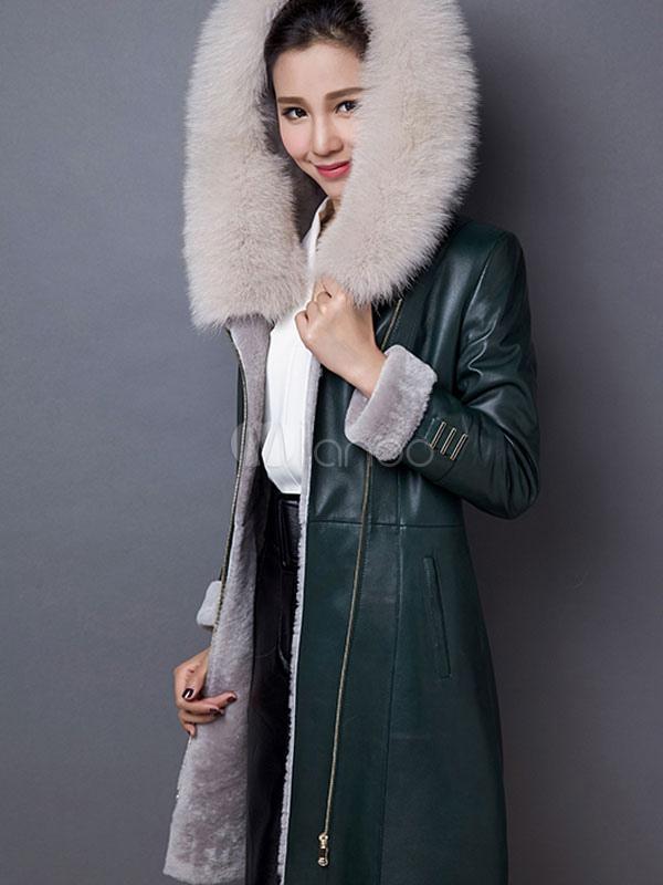 Veste cuir avec capuche fourrure femme