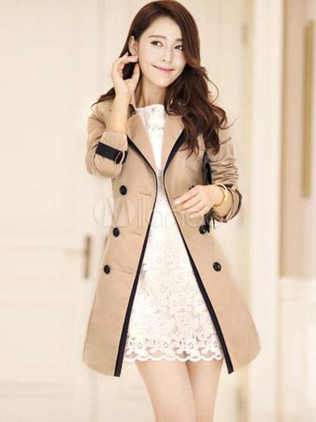 Armée Femme Trench La Longs Style Coat Breasted Mi Manteau Double De CCtqwa