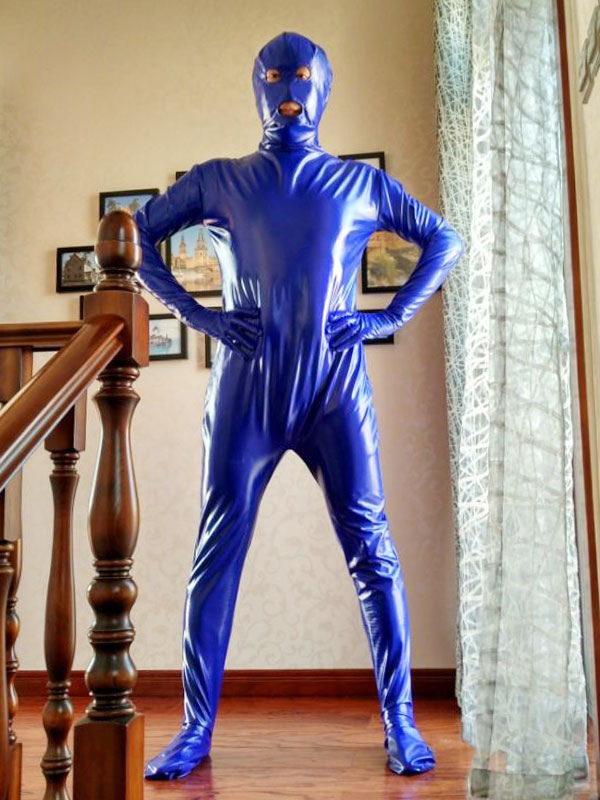 Halloween Blue Unisex Open Mouth And Open Eyes Designed PVC Clothes Halloween