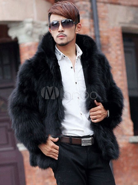 Faux Fur Coat Men Coat Black Turndown Collar Long Sleeve Winter Coat