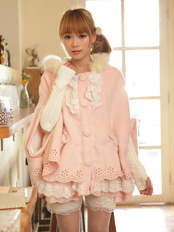 Buy Sweet Lolita Cloak Pink Lace Hooded Faux Fur Bow Half-Sleeve Lolita Cape for $93.59 in Milanoo store