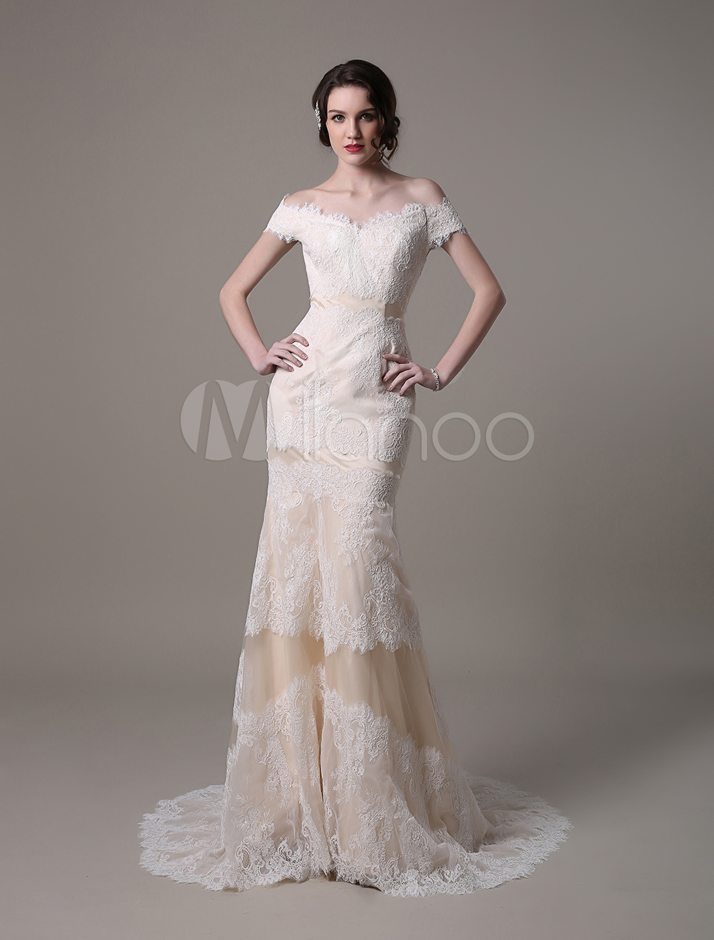 Champagne Vintage Mermaid Lace Wedding Dress With Off-the-Shoulder Sweep Train(Belt not Included) Milanoo
