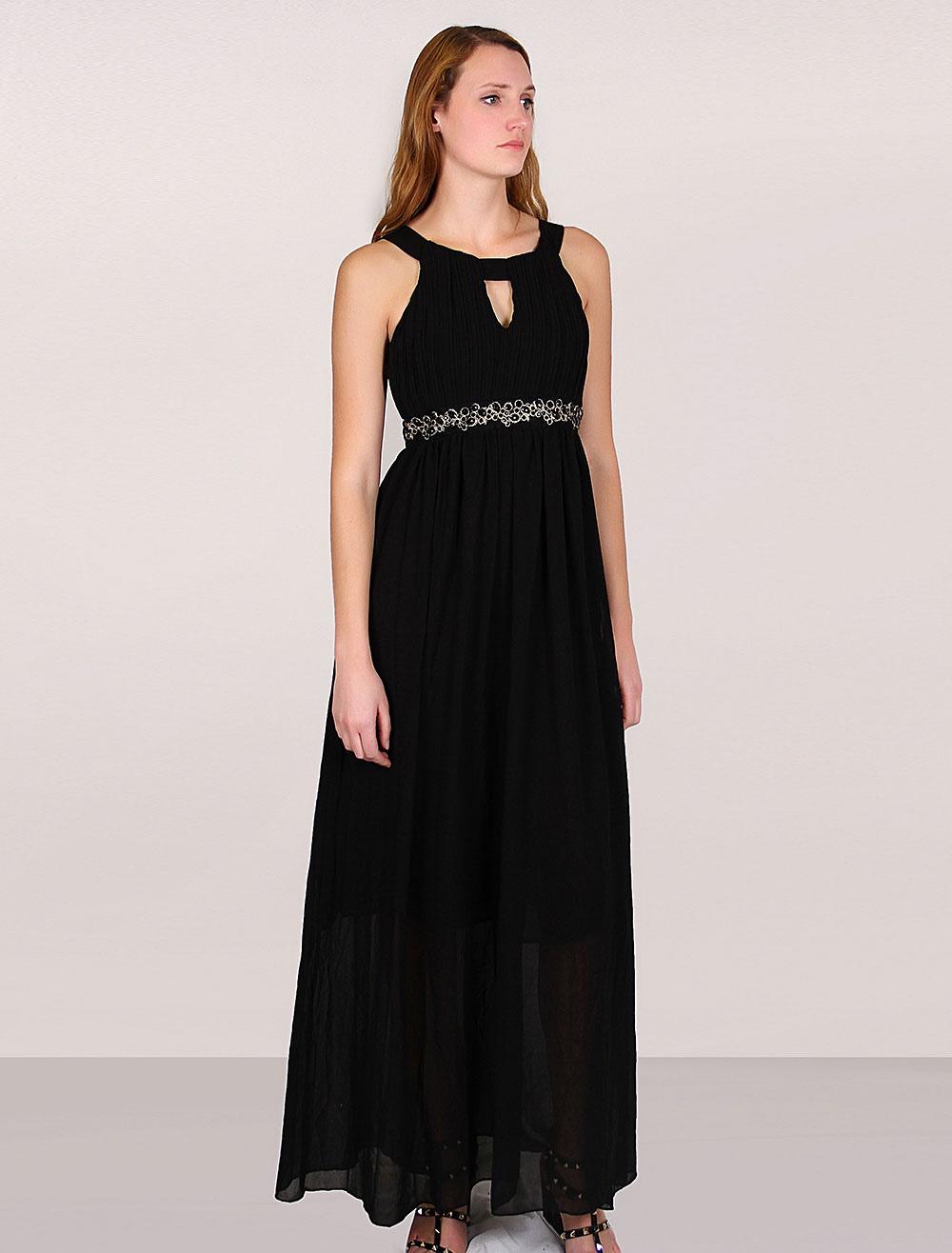 robe longue bretelles noire. Black Bedroom Furniture Sets. Home Design Ideas
