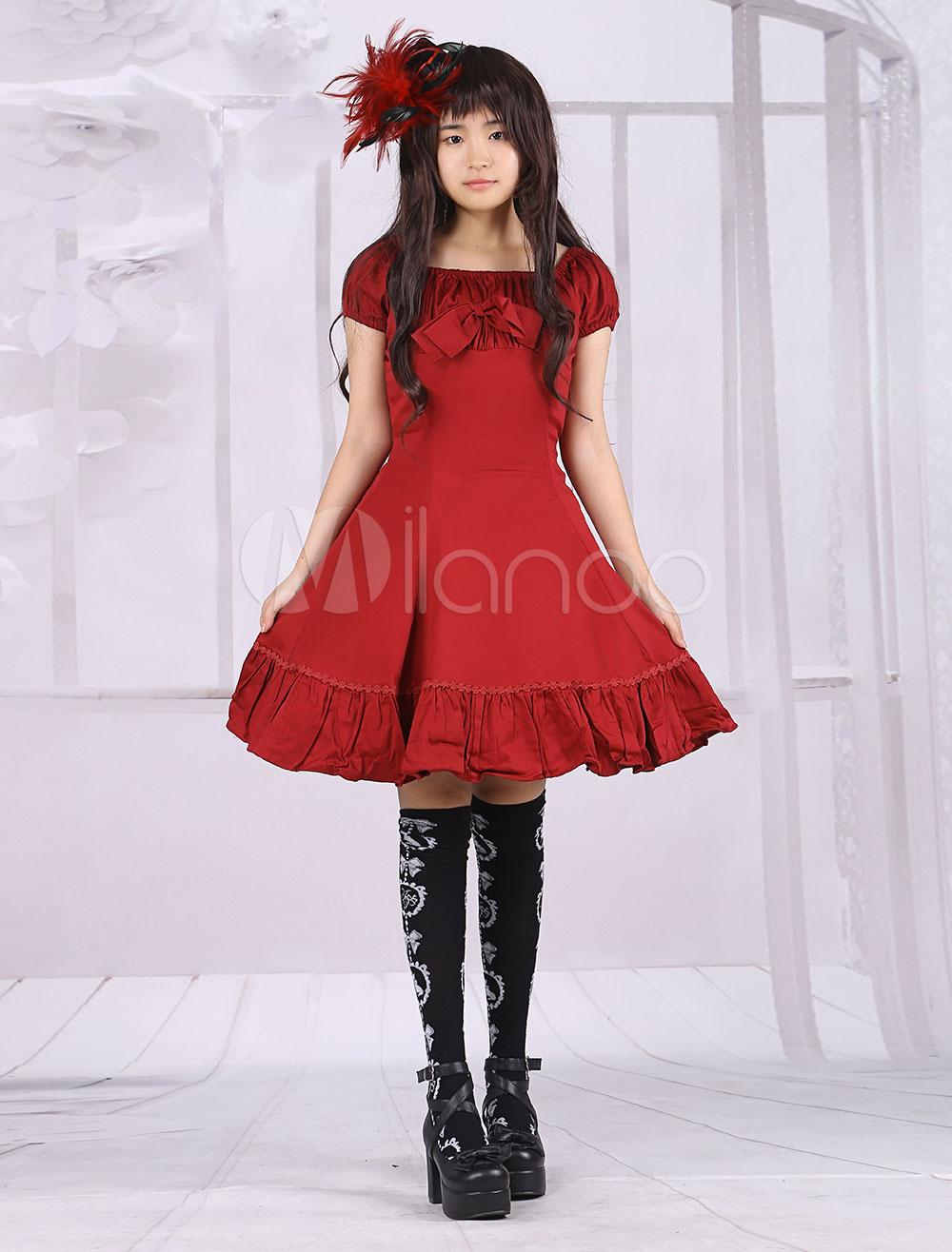 Buy Cotton Fuchsia Red Ruffles Classic Lolita Dress for $82.99 in Milanoo store