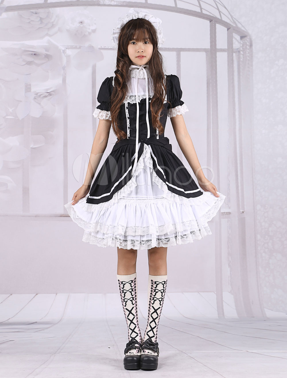Buy Cotton Black White Long Sleeves Classic School Lolita Dress for $86.39 in Milanoo store