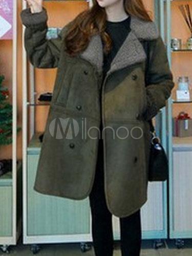 Long Suede Coat Faux Fur Double Breasted Women's Winter Coat